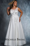 Christina Bridal Gown MB2106 by Sydney's Closet A-Line Gown with shimmery appliques on bodice zipper back with clear buttons available in Ivory