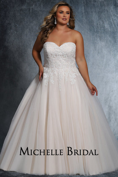 Adele Bridal Gown MB2108 by Sydney's Closet strapless ballgown with lace up back available in ivory/ivory, ivory/champagne, ivory/pink champagne