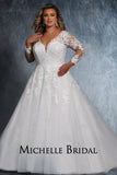 Cydni Bridal Gown MB2110 by Sydney's Closet A-line ballgown with illusion mesh sleeves and appliques with zipper back available in ivory/ivory, ivory/champagne, ivory/pink champagne