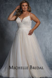 Billie Bridal Gown MB2111 by Sydney's Closet A-line ballgown with spaghetti straps and zipper button back available in ivory/ivory, ivory/champagne