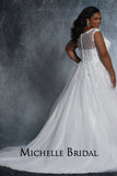 Selena Bridal Gown MB2112 by Sydney's Closet A-line ballgown with illusion mesh neckline zipper button back available in ivory