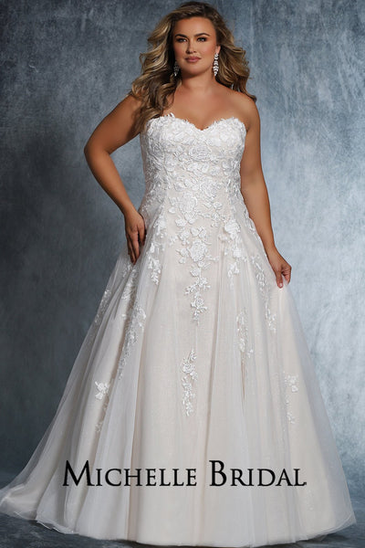 Dolly Bridal Gown MB2113 by Sydney's Closet A-Line ballgown with optional straps zipper button back available in ivory/ivory, ivory/champagne