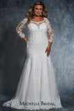 Jennifer Bridal Gown MB2114 by Sydney's Closet fitted mermaid with illusion mesh sleeves and appliques zipper back with clear buttons available in ivory