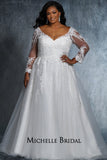 Madonna Bridal Gown MB2118 by Sydney's Closet A-line ballgown with illusion mesh sleeves with appliques and lace up back availavle in black/black, ivory/ivory, white/white, black/ivory, ivory/black