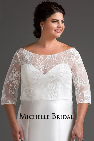 Chantilly lace topper with romantic 3/4 sleeves and covered buttons on back.