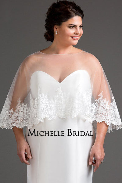 MB2203 is a light and airy cape to create a dramatic layer to your wedding dress. Exquisite embroidered lace on deep hem of delicate tulle cape. Scalloped edge adds a feminine touch.