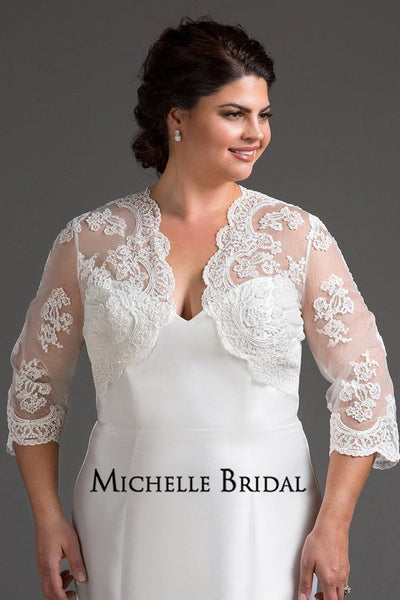 MB2205 bolero style lace jacket to give your wedding dress extra coverage