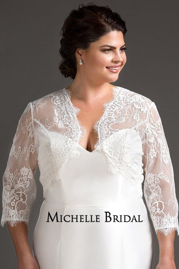 af658e61e3f lace bridal jacket for plus size wedding gown front