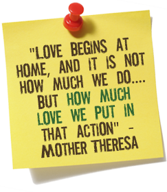 Note with quote by Mother Theresa