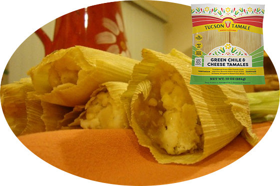 "green chile and cheese (""green corn"") tamale"