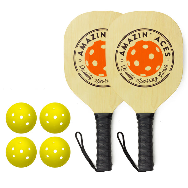 wood surface pickleball paddle set