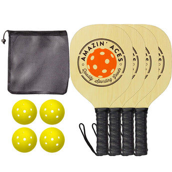 Amazin' Aces Wood Pickleball Set (4 Paddles + 4 Balls)