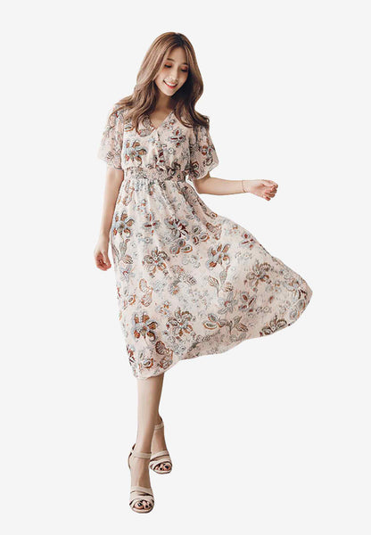 Elegant Sweet Floral Abstract Dress