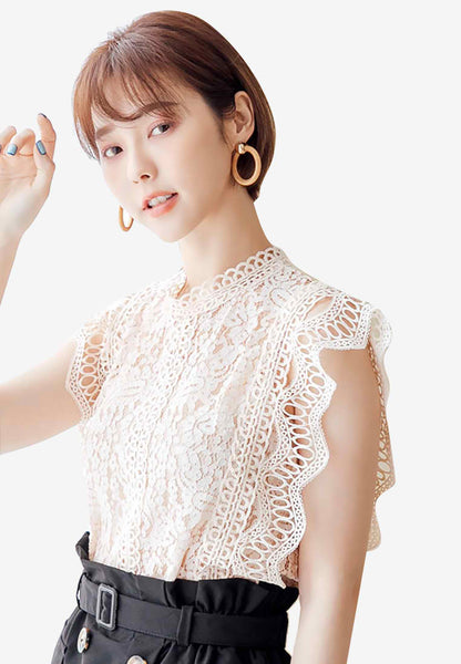 Sophisticated Chic Embroidered Lace Top