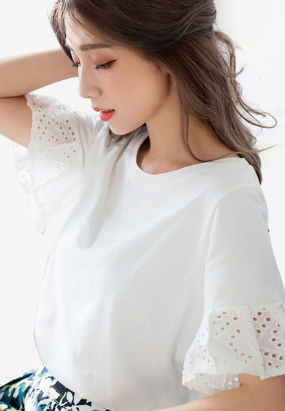 Ruffled Embroidered Cotton Lace Top