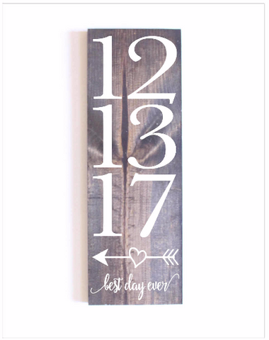 0561c904a52ff Best Day Ever Sign with Date-Vertical | Home Decor | Wedding Date Sign |  Wooden Sign | Rustic Wooden Sign