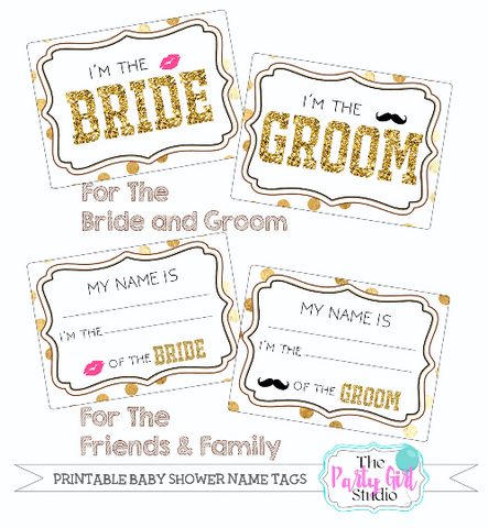 printable name tag package eventwedding engagement party rehearsal bridal shower
