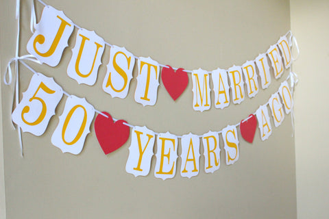Just married 50 years ago banner wedding anniversary banner 50th