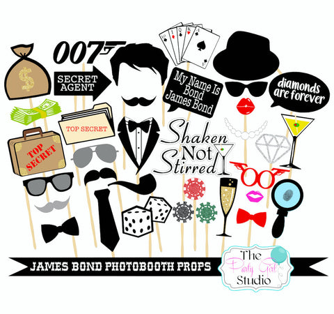 35pc 007 inspired photobooth james bond photobooth props