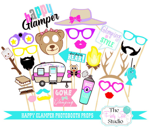 27 Pc Happy Glamping Photobooth Props