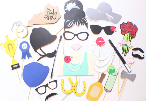 20pc Kentucky Derby Photobooth Props Horse Racing Sports