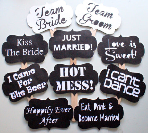 10 Pc Wedding Chalkboard Photo Booth Signsphotobooth Props The
