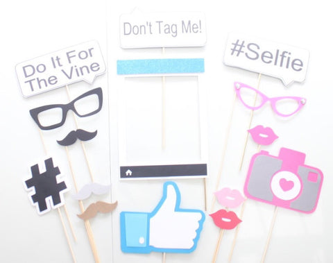 15pc Social Media Photo Booth Propsphotobooth Props The Party