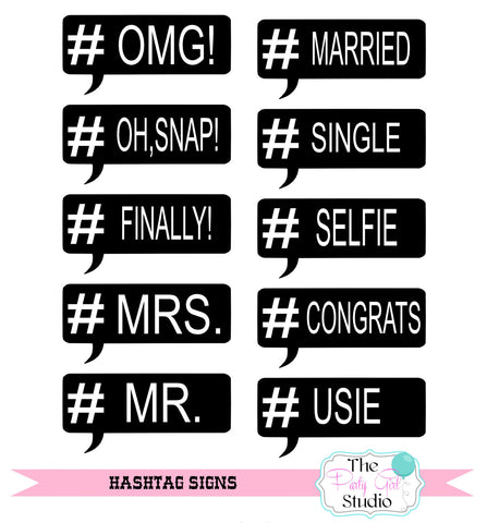 10pc Chalkboard Hashtag Speach Bubblessocial Media Photo Booth