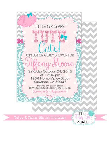 Tutus And Tiaras Baby Shower Printablestutu Cute Baby Shower