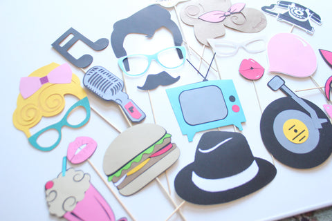 20pc Fabulous 50s Themed Photo Booth Propswedding Photobooth