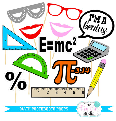 11pc Math Photobooth Props Back To School Photo Booth Props Back