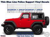 Police Officers PROTECT and SERVE Thin Blue Line American Flag Vinyl Decals Jeep