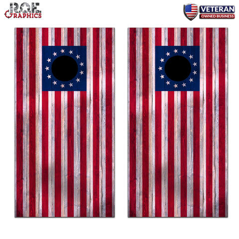 2x 13 Stars Wood USA Flag Cornhole Board Bag Toss Wrap Set-Universal Fit patriotic