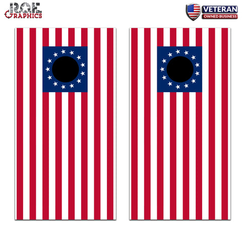 2x 13 Stars USA Flag Cornhole Board Bag Toss Wrap Set-Universal Fit patriotic