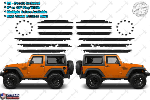 (2) US Flag Vinyl Decals fits: Jeep Wrangler Distressed Grunge American USA hood