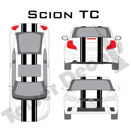 "6-5"" Dual Rally Racing Stripe with Pin Stripe Cast Vinyl Decal Fits Scion TC"