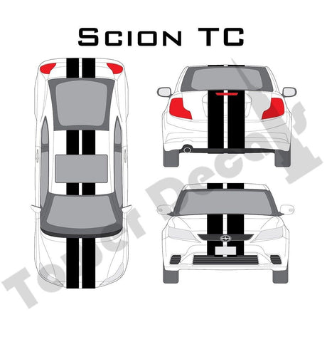 "6-9"" Dual Rally Racing Stripes Cast Vinyl Decal Fits Scion TC"