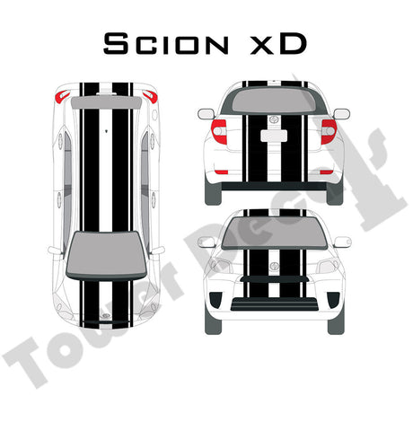 "6-9"" Dual Rally Racing Stripe with Pin Stripe Cast Vinyl Decal Fits Scion XD"