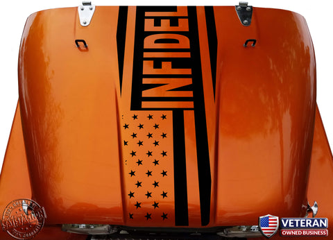 American Flag Infidel Hood Blackout Vinyl Decal fits Jeep CJ5 CJ7 CJ8 Scrambler