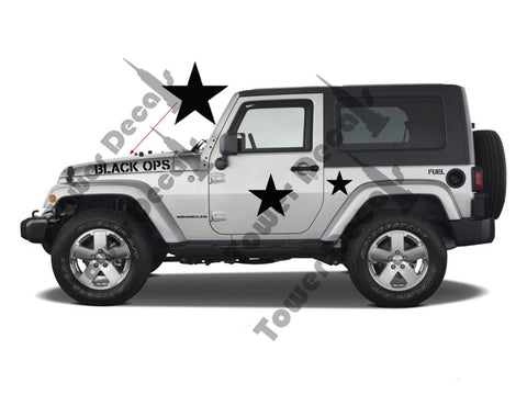 Black OPS Military Decal Kit fits Jeep Wrangler, Rubicon, Cherokee, CJ, XJ