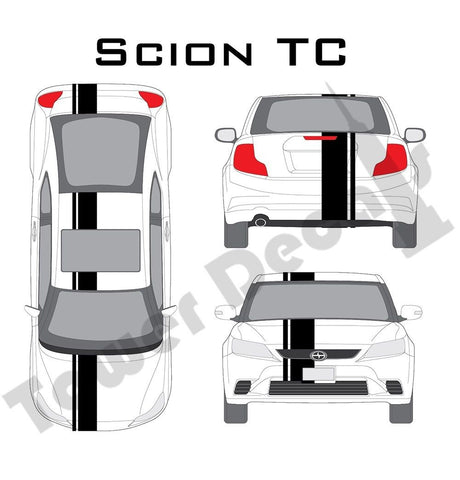 "3-9"" Single Rally Racing Stripe with Pin Stripe Cast Vinyl Decal Fits Scion TC"