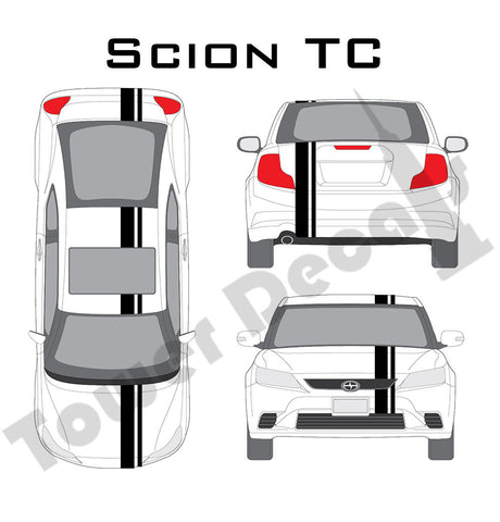 "3-5"" Single Rally Racing Stripe with Pin Stripe Cast Vinyl Decal Fits Scion TC"