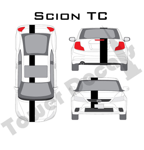 "3-9"" Single Rally Racing Stripe Cast Vinyl Decal Fits Scion TC"