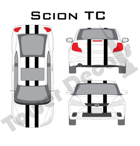 "6-5"" Dual Rally Racing Stripe Cast Vinyl Decal Fits Scion TC"