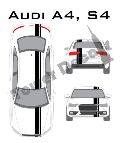 "3-5"" Single Rally Racing Pin Stripe Cast Vinyl Decal Fits Audi A4, S4"