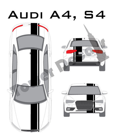"3-9"" Single Rally Racing Pin Stripe Cast Vinyl Decal Fits All Audi A4, S4"