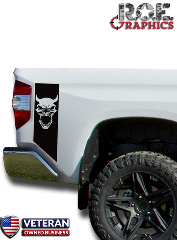 Demon Skull Bedside Decals stripe Vinyl Sticker fits 2014-2018 Toyota Tundra