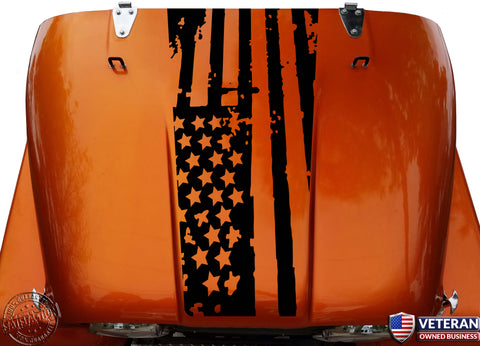 American Flag Distressed USA Hood Blackout Vinyl Decal fits Jeep CJ5 CJ7 CJ8 Scrambler