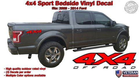 4x4 Sport Bedside 2 Color Vinyl Decals Stickers fits: Ford F150 Sport Edition