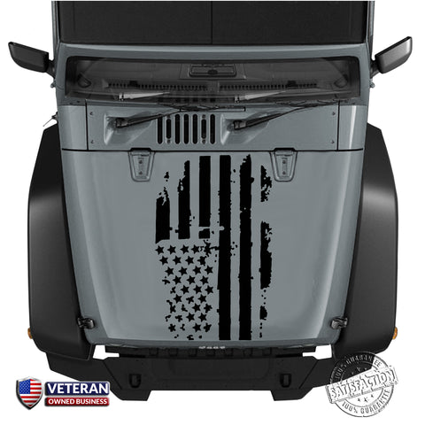 Distressed American Flag Hood Decal, Fits Jeep, Dodge, Ford, Chevy Trucks